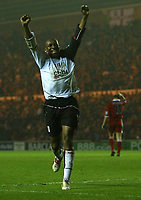 Fotball<br /> England 2004/2005<br /> Foto: SBI/Digitalsport<br /> NORWAY ONLY<br /> <br /> Middlesbrough v Fulham, Barclays Premiership, Riverside Stadium, Middlesbrough 19/04/2005.<br /> Fulham's Luis Boa Morte celebrates his team's first goal.