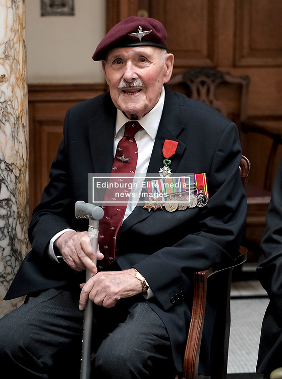 D-Day 75th anniversary, Edinburgh, Friday 6th June 2019<br /> <br /> A service to commemorate the 75th anniversary of the D-Day<br /> landings was organised by Armed Forces charity Legion<br /> Scotland and The French Consulate General.<br /> <br /> It was attended by 15 D-Day veterans, 4 of whom received the Knight of the Légion d'Honneur Cross, serving personnel, various dignitaries and Graeme Dey, the Scottish Government's Minister for Parliamentary Business and<br /> Veterans.<br /> <br /> Pictured:  Eric Tandy (95, 7th Para) received the medal<br /> <br /> Alex Todd | Edinburgh Elite media