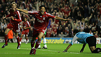 Photo: Paul Thomas.<br /> Liverpool v Maccabi Haifa. UEFA Champions League Qualifier. 09/08/2006.<br /> <br /> Mark Gonzalez celebrates his winning goal for Liverpool.