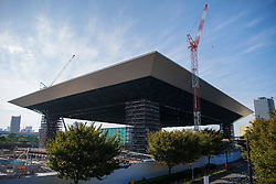 September 5, 2018 - Tokyo, JAPAN - 180905 Exterior view of the Olympic Aquatics Centre, arena to be used for swimming, diving and artistic swimming, during the first World Press Briefing for the 2020 Olympic Games on September 5, 2018 in Tokyo..Photo: Joel Marklund / BILDBYRN / kod JM / 87776 (Credit Image: © Joel Marklund/Bildbyran via ZUMA Press)