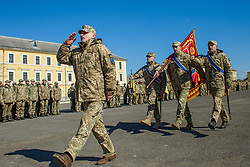 March 27, 2019 - Uzhgorod, Ukraine - Soldiers of the 128th Zakarpattia mountain assault nondivision brigade carry a battle flag during the celebrations on the occasion of their return home, from the Joint Forces Operation zone to the permanent basing in Uzhhorod, western Ukraine, March 27, 2019. Ukrinform. /VVB/ (Credit Image: © Serhii Hudak/Ukrinform via ZUMA Wire)