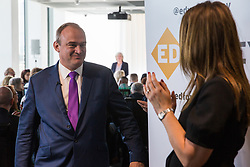 London, UK. 30 May, 2019. Ed Davey, Liberal Democrat MP for Kingston and Surbiton and former Secretary of State for Energy and Climate Change, leaves after making a speech in central London as he launched his campaign for the party leadership following excellent results for the party in the recent European and local elections.
