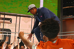 April 26, 2018 - Arlington, TX, U.S. - ARLINGTON, TX - APRIL 26:  Marcus Davenport high fives fans as he walks on stage after being chosen by the New Orleans Saints with the fourteenth pick during the first round at the 2018 NFL Draft at AT&T Statium on April 26, 2018 at AT&T Stadium in Arlington Texas.  (Photo by Rich Graessle/Icon Sportswire) (Credit Image: © Rich Graessle/Icon SMI via ZUMA Press)