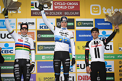 December 26, 2018 - Heusden-Zolder, BELGIUM - Belgian Wout Van Aert, Dutch Mathieu Van Der Poel and Dutch Joris Nieuwenhuis pictured on the podium after the men Elite race of the seventh stage (out of nine) in the World Cup cyclocross, Wednesday 26 December 2018 in Heusden-Zolder, Belgium. BELGA PHOTO DAVID STOCKMAN (Credit Image: © David Stockman/Belga via ZUMA Press)