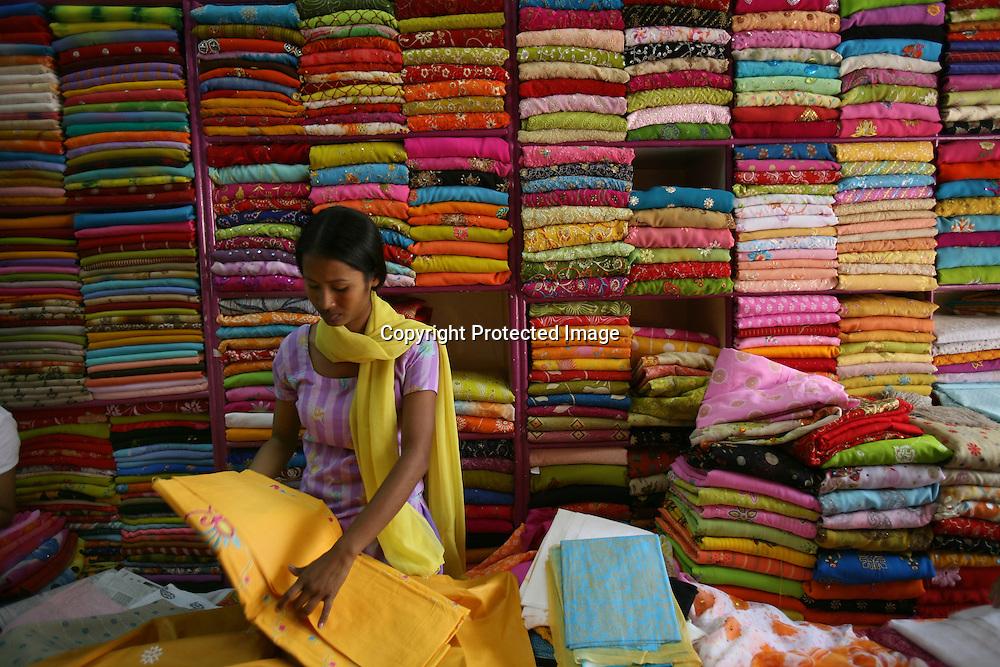 A textile weaving shop in Kathmandu.