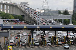 © Licensed to London News Pictures. 23/05/2014<br /> May Bank Holiday weekend getaway traffic today (23.05.2014)<br /> on the M25 in Dartford,Kent.<br /> Traffic at a standstill on the QE2  Dartford Bridge crossing Clock-wise on M25 towards Kent.<br /> Photo credit :Grant Falvey/LNP
