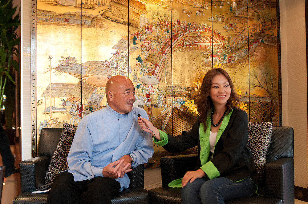 World famous chef, Ken Hom, during a interview with Poupee Sangkum for One Channel Asia TV at his restaurant Maison Chin in Bangkok, Thailand.