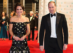 The Duke and Duchess of Cambridge attend The BAFTA Film Awards 2017 at The Royal Albert Hall, London, UK, on the 12th February 2017. Picture by Daniel Leal-Olivas/WPA-Pool. 12 Feb 2017 Pictured: Catherine, Duchess of Cambridge, Kate Middleton, Prince William, Duke of Cambridge. Photo credit: MEGA TheMegaAgency.com +1 888 505 6342
