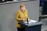 11 FEB 2021, BERLIN/GERMANY:<br /> Angela Merkel, CDU, Bundeskanzlerin, waehrend ihrer  Regierungserklaerung zur Bewaeltigung der Corvid-19-Pandemie, Plenum, Reichstagsgebaeude, Deutscher Bundestag<br /> IMAGE: 20210211-01-046<br /> KEYWORDS: Corona