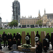 A funeral procession protest the UK government's endangering lives and prolonging the #COVID pandemi