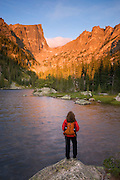 Hiker at Dream Lake, Rocky Mountain National Park, Colorado. (Model Released)