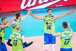 Ropret Gregor of Slovenia celebrating with team mates during friendly volleyball match between Slovenia and Serbia in Arena Stozice on 2nd of September, 2019, Ljubljana, Slovenia. Photo by Grega Valancic / Sportida