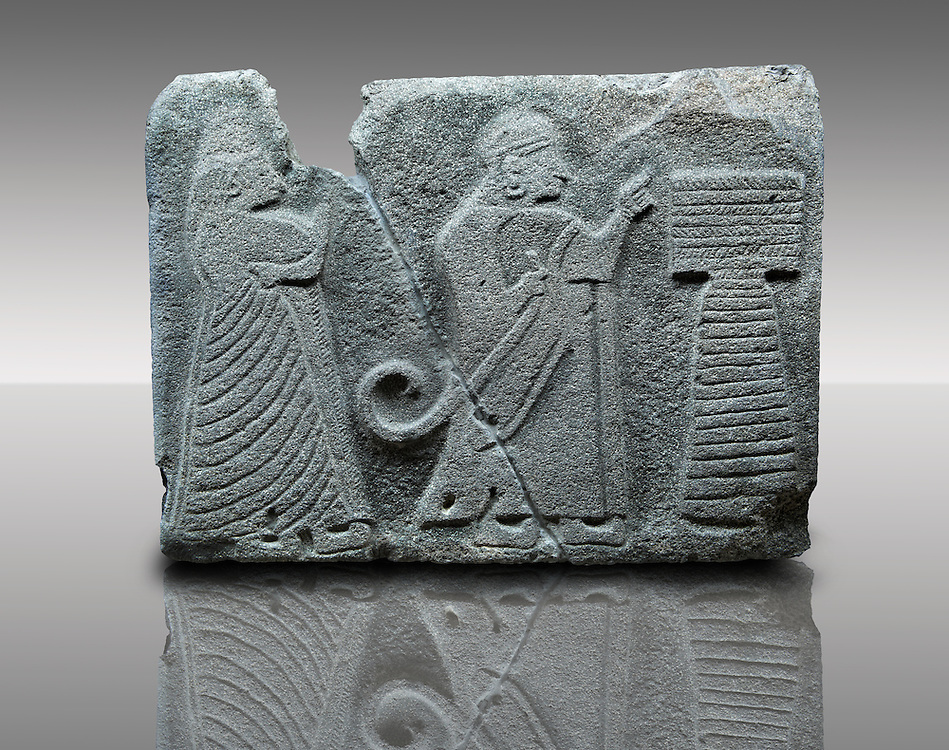 Picture & image of an Imperial Hittite orthostat dshowing a King & Queen before an altar from Alacahöyük, Alaca Çorum Province,, Turkey. Museum of Anatolian Civilisations, Ankara. Old Bronze age Chalcolithic Period. 4