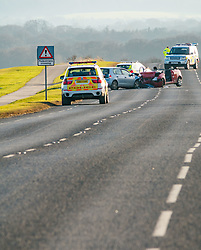 Pictured: Road Crash Gullane. A road crash on the straight section of the A198 Aberlady to Gullane road at around 1.00pm today outside the golf course on West Links Road in Gullane,. It is understood that two cars collided with one of the vehicles catching fire. 15 February 2019  <br /> <br /> Sally Anderson | EdinburghElitemedia.co.uk