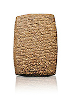 Hittite cuneiform tablet. Adana Archaeology Museum, Turkey. Against a white background .<br /> If you prefer to buy from our ALAMY STOCK LIBRARY page at https://www.alamy.com/portfolio/paul-williams-funkystock/hittite-art-antiquities.html . Type - Adana - in LOWER SEARCH WITHIN GALLERY box. Refine search by adding background colour, place, museum etc<br /> <br /> Visit our HITTITE PHOTO COLLECTIONS for more photos to download or buy as wall art prints https://funkystock.photoshelter.com/gallery-collection/The-Hittites-Art-Artefacts-Antiquities-Historic-Sites-Pictures-Images-of/C0000NUBSMhSc3Oo