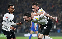 Derby County's Scott Malone celebrates scoring his side's second goal of the game with Mason Bennett (top) during the Sky Bet Championship match at Pride Park, Derby.