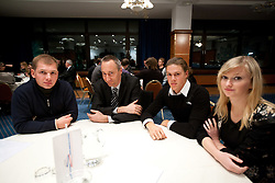 Jan Ilar, Jost Dolnicar and Jure Cvet with his girlfriend during the Slovenia's Rower of the year award ceremony by Rowing Federation of Slovenia, on December 17, 2010 in Hotel Golf, Bled, Slovenia.   (Photo By Vid Ponikvar / Sportida.com)