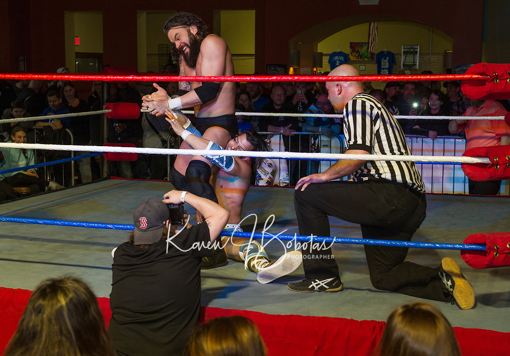 Pro Wrestling Injustice for Brawl benefit event for PJ Kearney and the Boston Children's Hospital at the Whiskey Barrel in Laconia.  Karen Bobotas for the Laconia Daily Sun