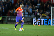 John Stones of Manchester city in action. EFL Cup. 3rd round match, Swansea city v Manchester city at the Liberty Stadium in Swansea, South Wales on Wednesday 21st September 2016.<br /> pic by  Andrew Orchard, Andrew Orchard sports photography.