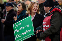 """© Licensed to London News Pictures. 19/11/2016. Richmond, UK. UKIP leadership contender SUZANNE EVANS attends the rally. Campaigners take part in a demonstration against the expansion of Heathrow Airport and the building of a third runway. Former conservative MP Zac Goldsmith is due to take part in a series of events in which some activists have threatened """"direct action"""". Photo credit: Ben Cawthra/LNP"""
