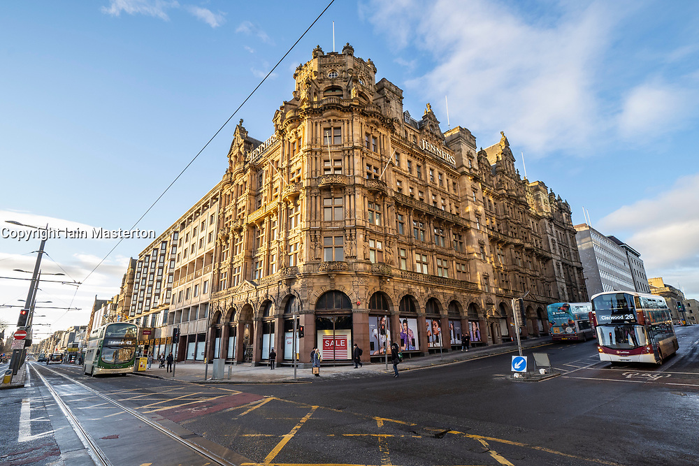 Edinburgh, Scotland, UK. 25 January 2020. Jenners department store on Princes Street in Edinburgh announces it is to close permanently on 3 May with loss of 200 jobs. Frasers, its owner, says it's failed to agree on rent with building owner Anders Polvsen. Pic; exterior of historic department store on Princes Street. Iain Masterton/Alamy Live News