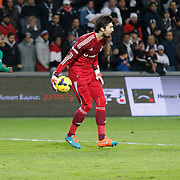Besiktas's goalkeeper Tolga Zengin during their Turkish Super League soccer match Istanbul Besiktas between Akhisar Belediyespor at the Basaksehir Fatih Terim Arena at Basaksehir in Istanbul Turkey on Sunday, 21 December 2014. Photo by Aykut AKICI/TURKPIX