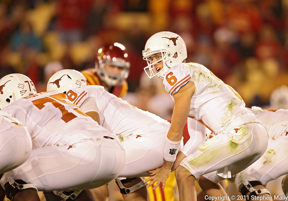 October 01, 2011: Texas Longhorns quarterback Case McCoy (6) looks down the line while under center during the second half of the game between the Iowa State Cyclones and the Texas Longhorns at Jack Trice Stadium in Ames, Iowa on Saturday, October 1, 2011. Texas defeated Iowa State 37-14.