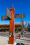 Information sign on Banff Avenue, Banff National Park, Alberta, Canada