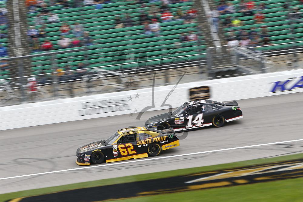 October 21, 2017 - Kansas City, Kansas, USA: Brendan Gaughan (62) battles for position during the Kansas Lottery 300 at Kansas Speedway in Kansas City, Kansas.