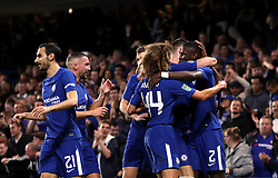 Chelsea's Antonio Rudiger (right) celebrates scoring his side's first goal of the game with his team-mates