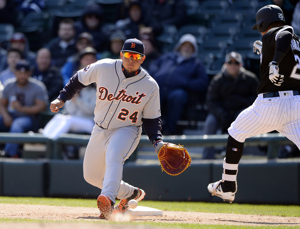 CHICAGO - APRIL 06:  Miguel Cabrera #24 of the Detroit Tigers fields against the Chicago White Sox on April 6, 2017 at Guaranteed Rate Field in Chicago, Illinois.  The White Sox defeated the Tigers 11-2.  (Photo by Ron Vesely)   Subject:  Miguel Cabrera