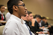 Purchase, NY – 31 October 2014. A student in the audience watching the team from Alexander Hamilton High School present. The Business Skills Olympics was founded by the African American Men of Westchester, is sponsored and facilitated by Morgan Stanley, and is open to high school teams in Westchester County.