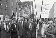 Election candidate Brian Cower joining protect march outside Leinster House, Kildare St, Dublin,<br /> 17th May 1984