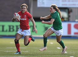 Wales' Jasmine Joyce <br /> Wales Women v Ireland Women<br /> Guinness Six Nations 2019<br /> Cardiff Arms Park<br /> <br /> Photographer Mike Jones/Replay Images<br /> <br /> Guinness Six Nations 2019<br /> Cardiff Arms Park<br /> Cardiff.<br /> 17th March 2019<br /> <br /> World Copyright © Replay Images . All rights reserved. info@replayimages.co.uk - http://replayimages.co.uk