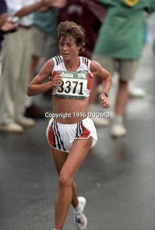 Uta Pippig (GER) competing in the 1996 Olympic Women's Marathon, Atlanta  Georgia, USA