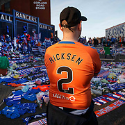 Tributes to former Rangers player Fernando Ricksen who died of Motor Neurone Disease yesterday.  Rangers v Feyenoord UEFA Europa League match in Glasgow, Britain, 19 Sept 2019. EPA-EFE/ROBERT PERRY
