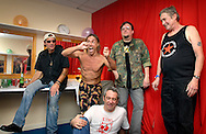 UK. Minehead. All Tomorrow's Parties 'The Nightmare Before Christmas' at the Butlins Holiday Centre, Minehead, Somerset.<br /> Photo shows Iggy Pop and The Stooges back stage.<br /> Left to right: Scott Asheton, Iggy Pop, Ron Asheton, Mike Watt (on floor), Steve Mackay