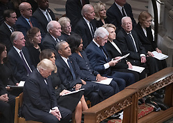 National funeral service in honor of the late former United States President George H.W. Bush at the Washington National Cathedral in Washington, DC on Wednesday, December 5, 2018. Front row, left to right: US President Donald J. Trump, first lady Melania Trump, former US President Barack Obama, former first lady Michelle Obama, former US President Bill Clinton, former US Secretary of State Hillary Rodham Clinton, former US President Jimmy Carter, and former first lady Rosalynn Carter. Second row: Karen Pence, former US Vice President Dan Quayle, Marilyn Quayle, former US Vice President Dick Cheney, Lynne Cheney, former US Vice President Joe Biden, Jill Biden<br /> Photo by Ron Sachs / CNP/ABACAPRESS.COM