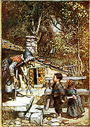 Hansel and Gretel and the Witch on the doorstep of her cottage, showing tiles made of gingerbread. Arthur Rackham illustration published 1899 for Brothers Grimm fairy story.