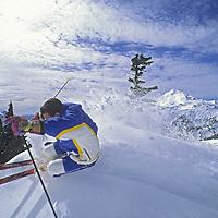 Lane Barrett skis powder snow on Shuksan Arm in Mt. Baker Wilderness, near Mount Baker Ski Area, Washington. Mount Baker rises in the background.