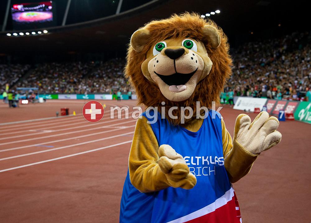 Mascot Leo during the Iaaf Diamond League meeting (Weltklasse Zuerich) at the Letzigrund Stadium in Zurich, Switzerland, Thursday, Aug. 29, 2019. (Photo by Patrick B. Kraemer / MAGICPBK)