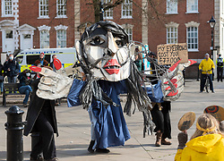 """© Licensed to London News Pictures;03/04/2021; Bristol, UK. Priti Patel puppet at a fifth """"Kill the Bill"""" protest takes place in Bristol place the Police, Crime, Sentencing and Courts Bill during the Covid-19 coronavirus pandemic in England. The Bill proposes new restrictions on protests. Some previous Kill the Bill protests in Bristol had violence. Photo credit: Simon Chapman/LNP."""