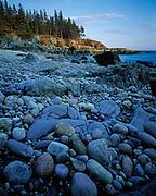 Cobbled shore of Little Hunters Beach, Mount Desert Island, Acadia National Park, Maine.