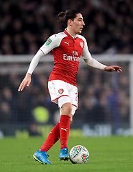 """Arsenal's Hector Bellerin during the Carabao Cup Semi Final, First Leg match at Stamford Bridge, London. PRESS ASSOCIATION Photo. Picture date: Wednesday January 10, 2018. See PA story SOCCER Chelsea. Photo credit should read: Mike Egerton/PA Wire. RESTRICTIONS: EDITORIAL USE ONLY No use with unauthorised audio, video, data, fixture lists, club/league logos or """"live"""" services. Online in-match use limited to 75 images, no video emulation. No use in betting, games or single club/league/player publications."""