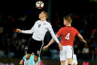 Fotball , 10 . oktober 2017 ,  EM-kvalik U21<br /> Norge - Tyskland<br /> Euro U21 - Qualification<br /> Norway - Germany<br /> Felix Platte 9 ,  , Germany<br /> Kristoffer Ajer , Norge