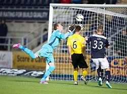 Livingston keeper Darren Jamieson and Falkirk's Rory Loy.<br /> Falkirk 0 v 0  Livingston, Scottish Championship game played 21/10/2014 at The Falkirk Stadium.
