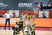 Basketball: Deutschland, 1. Bundesliga, Hamburg Towers -  EWE Baskets Oldenburg, Hamburg, 14.04.2021<br /> Maik Kotsar (Towers, M.) <br /> © Torsten Helmke