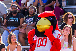 NORMAL, IL - August 14: Reggie Redbird leads the WAVE during a college football pre-season scrimmage of the  ISU (Illinois State University) Redbirds August 14 2021 at Hancock Stadium in Normal, IL. (Photo by Alan Look)
