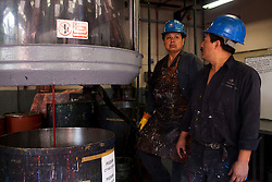 Workersl at a Grupo Sanchez ink factory in Mexico City, Mexico.