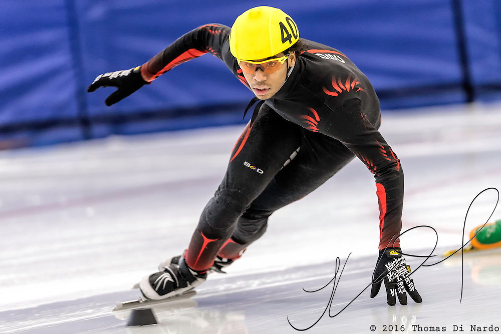 December 17, 2016 - Kearns, UT - Richard Anglin skates during US Speedskating Short Track Junior Nationals and Winter Challenge Short Track Speed Skating competition at the Utah Olympic Oval.